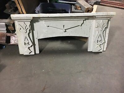 "c1880 antique victorian gingerbread mantle pediment white paint 50"" x 22"" x 5"""
