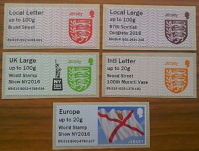 Jersey Post and Go 2016 overprinted stamps