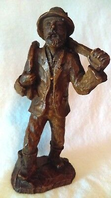 Primitive Folk Art Carved Lumberjack Figurine Raw Wood Unpainted Collectible