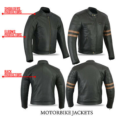 Mens Motorcycle cowhide milled Leather Jacket Motorcycle Motorbike CE Armoured
