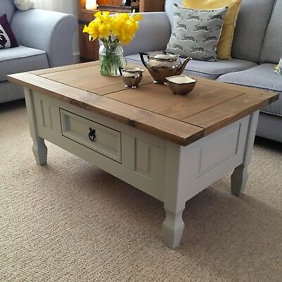 Shabby Chic Coffee Table In Farrow Ball French Grey Solid Pine Drawer Next