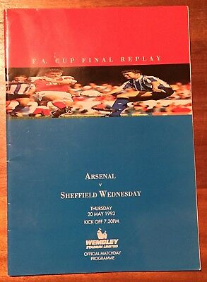Arsenal v Sheffield Wednesday 1993 FA Cup Final Replay Programme