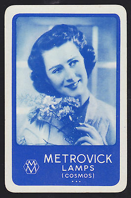 1 Single VINTAGE Swap/Playing Card ADV METROVICK COSMOS LAMPS LADY FLOWERS BB