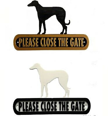 Greyhound Please Close The Gate Silhouette Dog Plaque - House Garden Sign