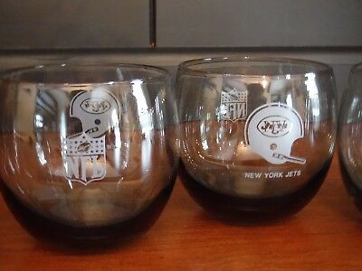 4 Vintage NFL New York Jets 8oz Smoked Colored Roly Poly Glasses