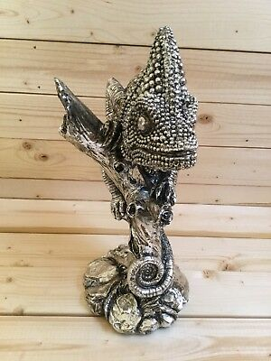 "New Resin Grey Silver Chameleon Statue Sculpture Table Decor 11.5""H"