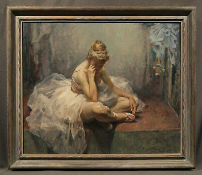 """Early 20th Century signed Oil Painting """"Ballerina in Thoughtful Pose"""""""