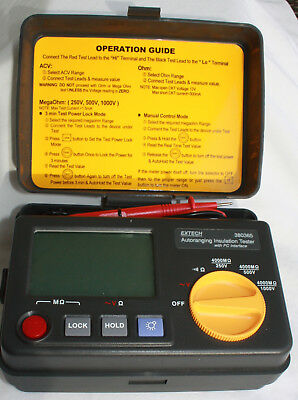 Insulation Tester Digital Display, 4 ranges to 1000VAC,  Extech 380365