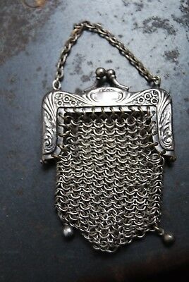 VICTORIAN era SMALL SILVER Frame  CHAIN MAILLE MESH CHATELAINE Coin purse ORNATE