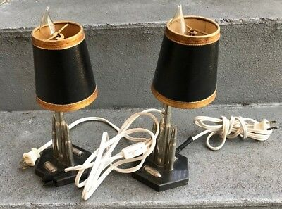 Vintage Trench Art Pair Of  Small Bullet  Lamps