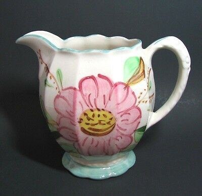 Vintage Blue Ridge Southern Pottery Pitcher Floral Shabby Pink Yellow Grace