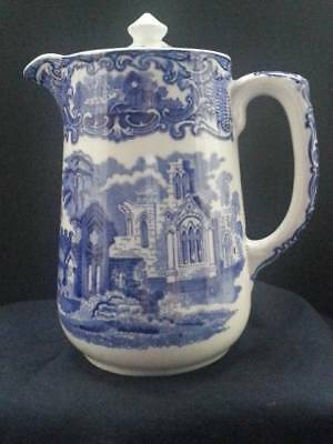 A LOVELY GEORGE JONES BLUE AND WHITE COFFEE POT ABBEY 1790 PATTERN - c1925