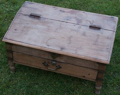 A Fantastic Antique Campaign Table Top Desk in Teak? Possibly a Paymasters Desk