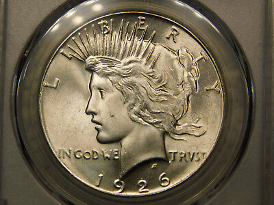 1926 Peace Dollar Silver Certified PCGS MS64 Excellent White Luster Very Nice
