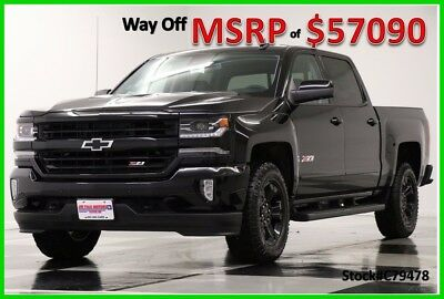 2017 Chevrolet Silverado 1500 MSRP$57090 4X4 Z71 LTZ Sunroof GPS Midnight Crew New Navigation Heated Cooled Black Leather 16 17 Short Cab 4WD 5.3L Blacked Out