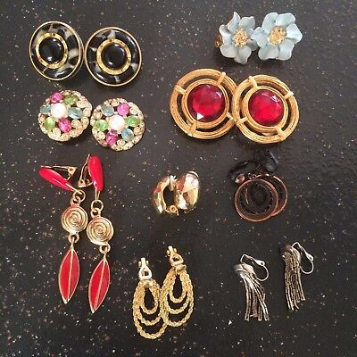 Clip On Earrings Vintage - Now Lot of 9 Crystals Gold Tone Various Materials