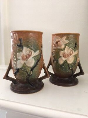 Vintage Roseville Pottery Magnolia double handled vases mint condition