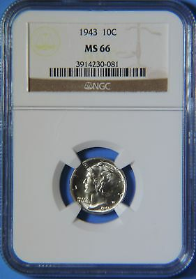1943 P Silver Mercury Dime NGC Graded MS66 GEM Uncirculated