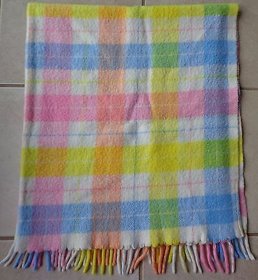 Plaid Pastel Baby Blanket with Fringe on one side Vintage Bright Yellow 36 x 42
