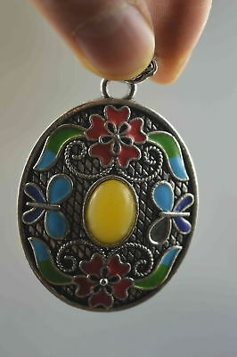 Collectable Handwork Old Miao Silver Inlay Amber Carve Flower Character Pendant