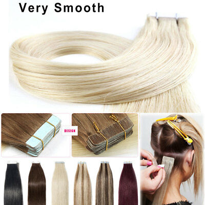 100G Tape In 100% Remy Human Hair Extensions Brazilian Real Thick Hair UK STOCK