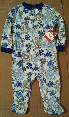 NWT Holiday Time Infant Fleece One Piece Sleeper Blue Gray Snowflakes 3-6 Month