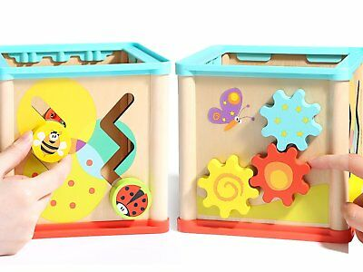 Wooden Toys For Kids Activity Cube Educational Developmental Learning Toy Sturdy