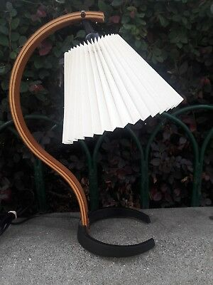 Mid Century Modern Caprani Table Lamp Bentwood With Cast Iron Base