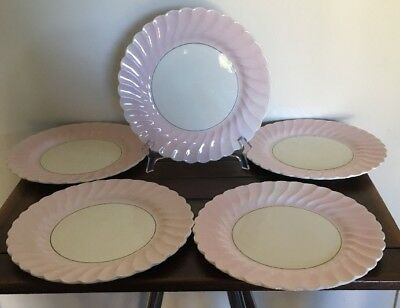Dinner Plates Myott Staffordshire Old Chelsea Pink And Cream Swirl Set Of 5