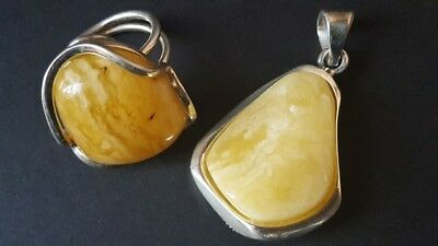 21.1 Gr Antique Baltic Natural Amber Ring, Pendant.Silver