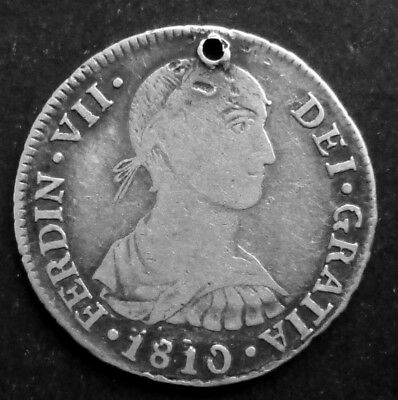 Peru 2 Reales 1810 Jp Lima Bust Km# 104.2 Silver. With A Hole