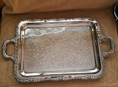 LARGE 950 STERLING SILVER HANDLED  SERVING TEA TRAY PLATTER 2571 grams BEAUTIFUL