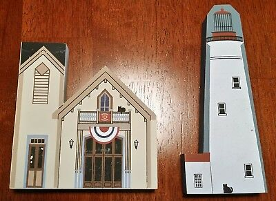 Cats Meow Village Cape May NJ Set of 2 w/RARE Cape May Firetruck Museum - Faline