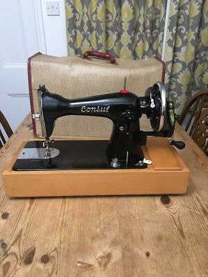 Vintage Consul Sewing Machine With Case - Hand Crank - Made In Holland