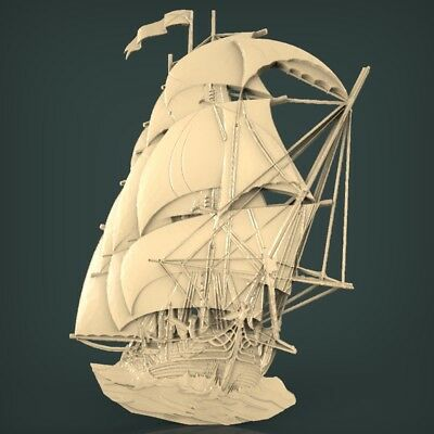 (1065) STL Model Ship for CNC Router 3D Printer Artcam Aspire Bas Relief