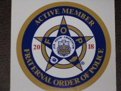 Fraternal Order Of Police 2018 Badge Vinyl Decal Sticker FOP Blue Line PBA COP