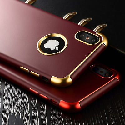For iPhone X 8 Plus 7 6S Luxury Slim Fit Shockproof Chrome Hybrid Soft Tpu Case