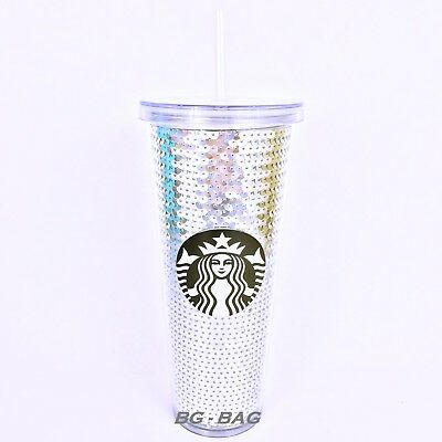 Starbucks SILVER SEQUINS Cup Limited Edition 2017 Christmas Holiday 24oz Tumbler