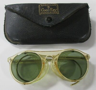 Vintage American Optical Cool-Ray Green Lens Safety Glasses Goggles Sunglasses