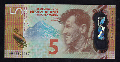 2015 (ND) New Zealand $5 Polymer Note   P-191   Unc.