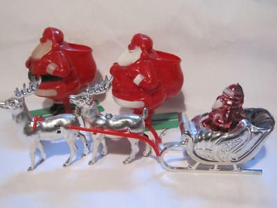 3 Santa Vintage Candy Containers Santa On Skis/Santa In Silver Sled Reindeer Fab