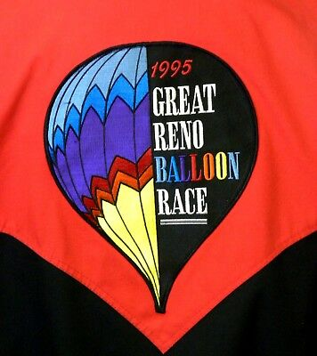 Vintage Reno Great Balloon Race Color Block Embroidered Snap Front Jacket Men LG