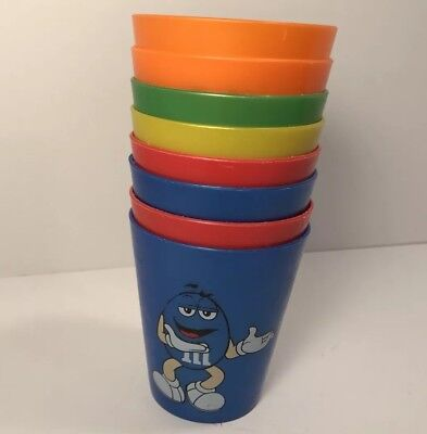 M&M Collector Plastic Cups Lot of 8 Vintage Green Orange Yellow Red Blue Used