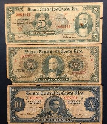 RARE LOT Costa Rica 1951-1959: 5 and 10 Colones , Three VG and G Banknotes