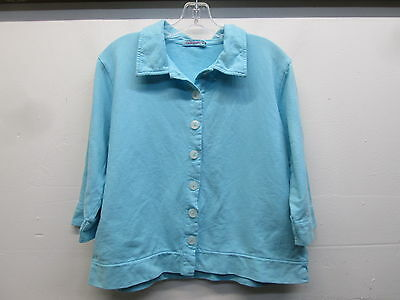 Nwot Fresh Produce Light Blue Collared Cardigan 34 Sleeve Sweater