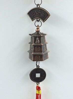 Feng Shui  Classic Trendy Brass Dragon Bell Key Chain Ring Temple Chimes Home