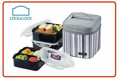 ❤ Lock & Lock LunchBox 3pc set Insulated Leakproof Carry Bag & Cutlery Lunch Box