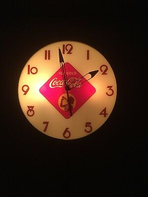 "Coca Cola 15"" Round Silhouette Girl in Diamond Clock Beautiful Working Condition"