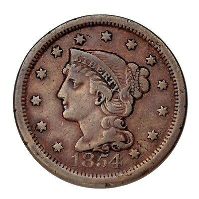 1854 Braided Hair Large Cent 1C Penny (Fine, F Condition)