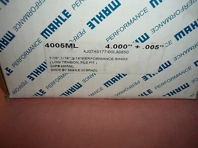 """Mahle Ring Set 4005ML plasma moly file fit 4.000"""" bore NEW complete set low tens"""
